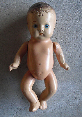 """Vintage 1930s Jointed Composition Baby Boy Character Doll 9"""" Tall"""