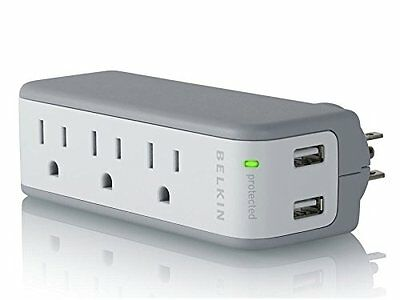 Belkin BZ103050-TVL 3-Outlet Mini Travel Swivel Charger Surge Protector with Dua