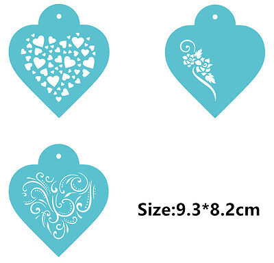 3 Pcs Packed Flower Love Heart Cookie Cake Stencil Decorate Mould Fondant Tool