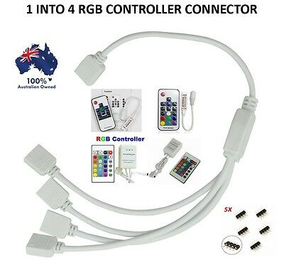 Control Four 5050 3528 Rgb Led Strip With One Remote 1 To 4 Splitter Cable 4 Pin