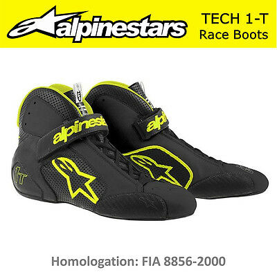 ALPINESTARS Tech 1-T Auto Race Boots FIA Approved Black Yellow Fluo US 10 EU 43