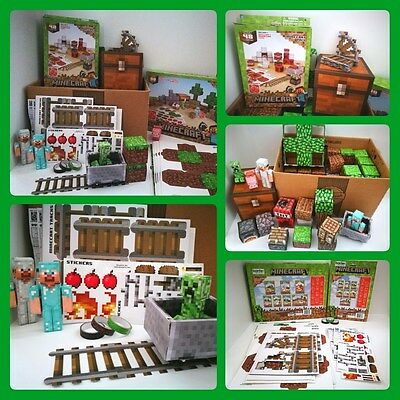 Minecraft Overworld 3D Modelling set - Deluxe & Minecart pack bundle - Mixed lot