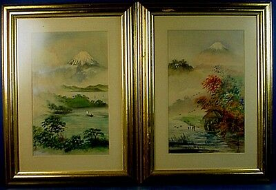 PAIR VINTAGE JAPANESE WATERCOLOR ON SILK LANDSCAPE PAINTINGS with MOUNT FUJI