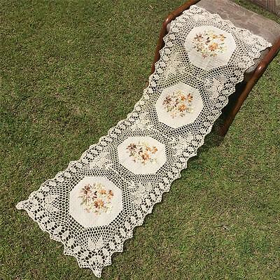Vintage Beige Silk Ribbon Embroidery Flower Hand Crochet Lace Table Runner--A