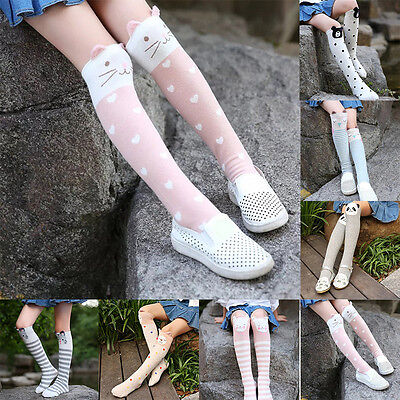 Cute Kids Children Girls Cartoon Animals Socks Knee High Hosiery Stocking Cotton