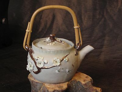 Antique Japanese Banko glazed clay porcelain enamel teapot, artist signed flower