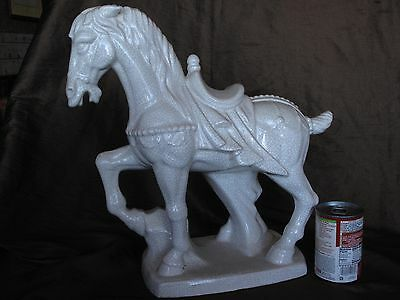 VINTAGE 16'' Chinese Fengshui White porcelain  Zodiac Tang Horse Sculpture
