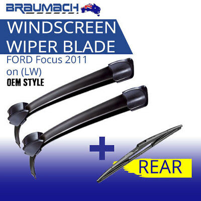 Wiper Blades Kit Front Rear Suit FORD Focus 2011 on (LW) - 3 Blades Braumach