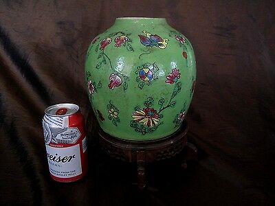 lARGE  Antique Chinese  Ginger Jar Famille  ROSE Verte Green   VASE