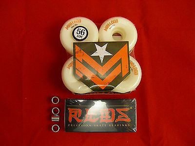 4 x MINI LOGO A-CUT 56mm /101a - SKATE BOARD WHEELS + 8 x BONES REDS