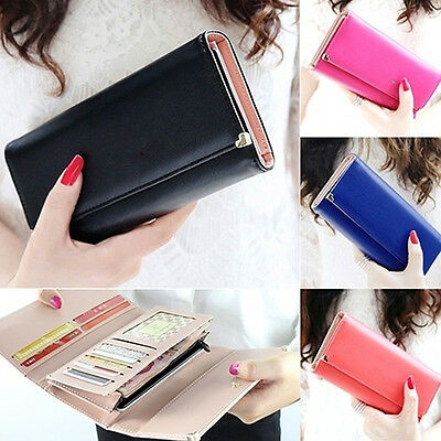 Women Mini leather Clutch Wallet Card Coin Phone Holder Zipper Leather Wallet