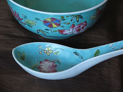 Chinese Rose Medallion Trio BUTTERFLY Antique BOWL, SPONE