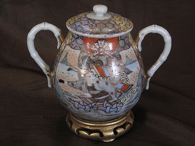 Satsuma Porcelain pot  with Samurais , Hand Painted with signature
