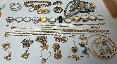 Large Lot of Jewelry Rings, Bracelets, Necklaces, Watches 9-22kt Diamonds Gems++