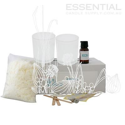 Soy Candle Making Kit 4 x White Glass Jars, Contains everything you need PreMeas