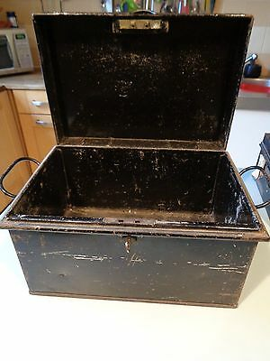 Vintage Metal Deeds Box Hobsons London  With Key Secure 2 Lever Lock ,handles
