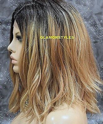 "20"" Bob Wavy Golden Blonde Dark Brown Full Lace Front Wig Heat Ok Hair Piece NWT"