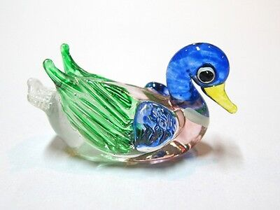 Collectible MINIATURE HAND BLOWN Art GLASS Duck FIGURINE Collection Ornament
