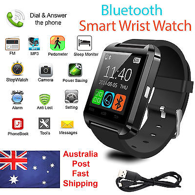 AU 2017 Bluetooth Smart Watch Wrist Phone Mate Camera Sports For Android & iOS