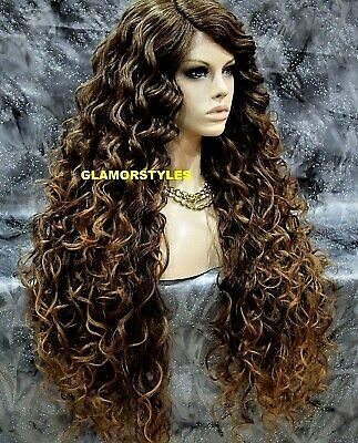 """40"""" Wavy Layered Brown Golden Blonde Mix Full Lace Front Wig Heat Ok Hair Piece"""