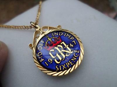 Vintage Enamelled Sixpence Coin 1947 Pendant & Necklace. Xmas / Birthday Present