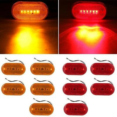 10 Pack of LED Amber and Red Clearance Marker Lights Truck Trailer Vehicle
