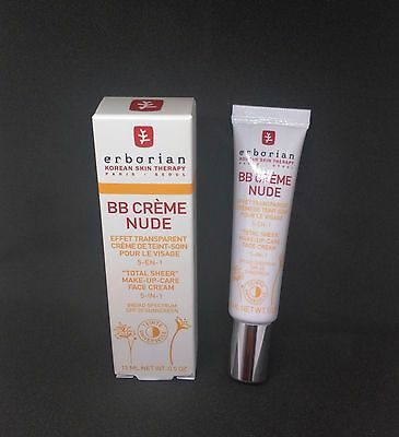 New Erborian BB Creme Nude 5-in-1 Total Sheer Make-Up Face Cream 15ml SPF20