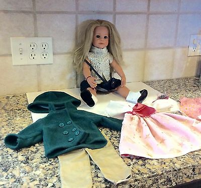 Gotz Sarah Doll All Vinyl Jointed Slim Body Long Blond Hair RARE