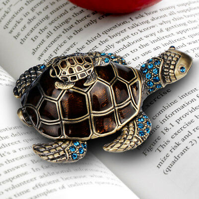Turtle Jewelry Box Trinket Case Crystals Ceramics Animal Gift Storage Organizer