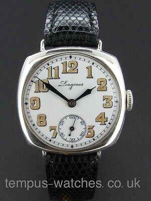 Stunning 1917 Longines Silver WW1 Trench Watch White Enamel Dial.