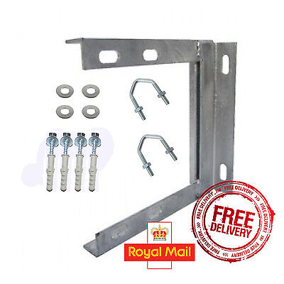 Aerial Wall Mount Bracket 9 x 9 Galvanised + Fixing + *Free First Class Postage*