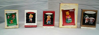 Lot of 5 Hallmark Ornaments Winnie the Pooh Candy Cane Trio, Peanuts, Mom, Miner