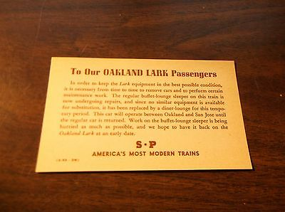 August 1953 Southern Pacific Oakland Lark Buffet Lounge Special Notice Card