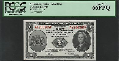 Netherlands Indies 1 gulden 1943 NICA, PCGS 66PPQ, Pick 111a