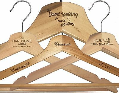Personalised Engraved Wooden Coat Hangers, Gifts, Any Engraving, Any Occasion