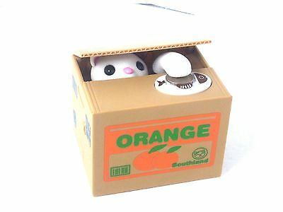 Mischief White Kitty Cat Automated Stealing Coin Saving Box Piggy Bank
