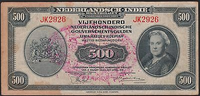 Indonesia 500 gulden 1943 w/ RMS stamp, VF-, Pick S531 / HP-5