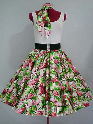 "ROCK N ROLL/ROCKABILLY ""Flamingos"" SKIRT & SCARF M-L White/Pink/Green."