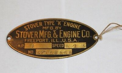 Antique Vtg Metal Face Plate Stover Type K Engine Mfg Co Freeport Ill USA #228