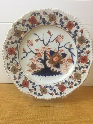 Antique/Vintage Hand Painted Japanese Imari Plate With Scalloped/Ribbed Borders