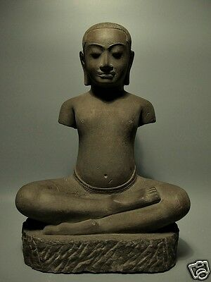 Khmer Sculpture Sandstone King Jayavarman Figure 'angkor Wat' Style, 16-17Th C