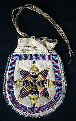 Circa 1890 Eastern Sioux Indian Beaded Pouch Sinew Sewn On Deer Hide
