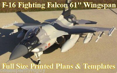 """F-16 Falcon 61"""" WS 1/6 Scale RC Airplane Full Size PRINTED Plans & Templates"""