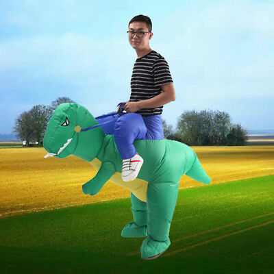 Halloween Inflatable Adult Green Dinosaur Party Costume Dino Rider Funny Dress