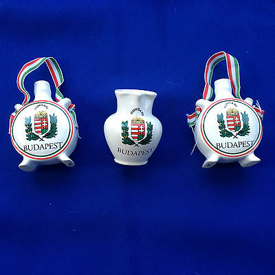 Budapest Hungary Souvenirs MINIS  - two flasks - one vase (546)