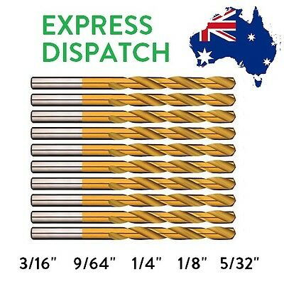 10 PACK | Alpha Gold Series TiNite Drills - Imperial 3/16 9/64 1/4 1/8 5/32 HSS