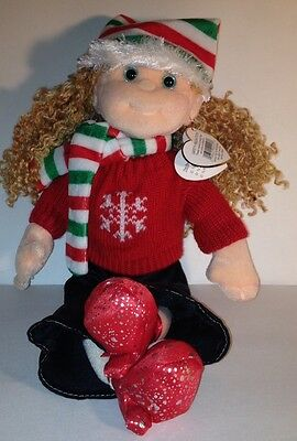"FESTIVE FRANNIE TY Heart Tag WINTER Curly Hair Doll 12"" Tall Beanie Bopper Coll."