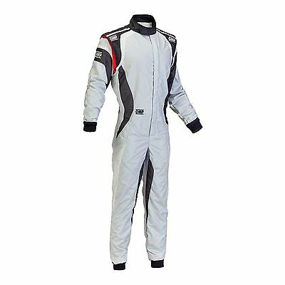 OMP One Evo FIA Approved 3 Layer Nomex Race/Rally Suit Grey/White/Black Size 56