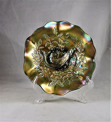 Millersburg Green Carnival Glass Trout and fly Bowl