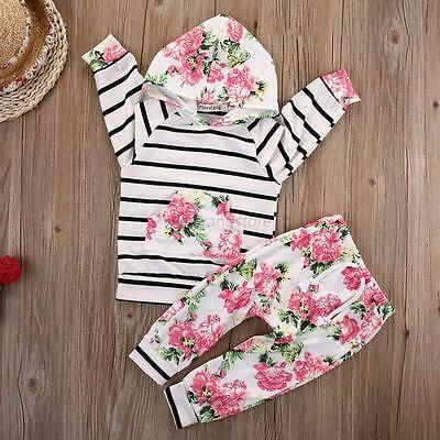 Infant Baby Girl Striped Hooded Tops+Floral Pants Outerwear Outfits Set Clothes